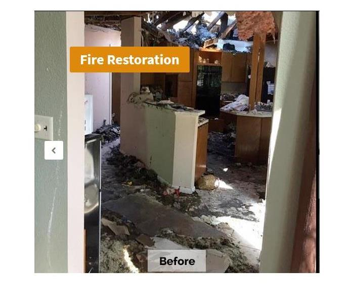 Kitchen gutted by fire damage